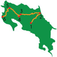 Route map for the Tour and Drive in Costa Rica package